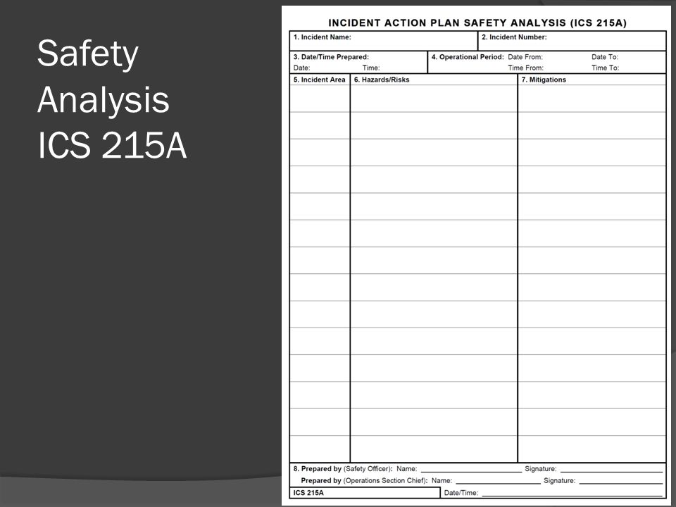 Safety Analysis ICS 215A