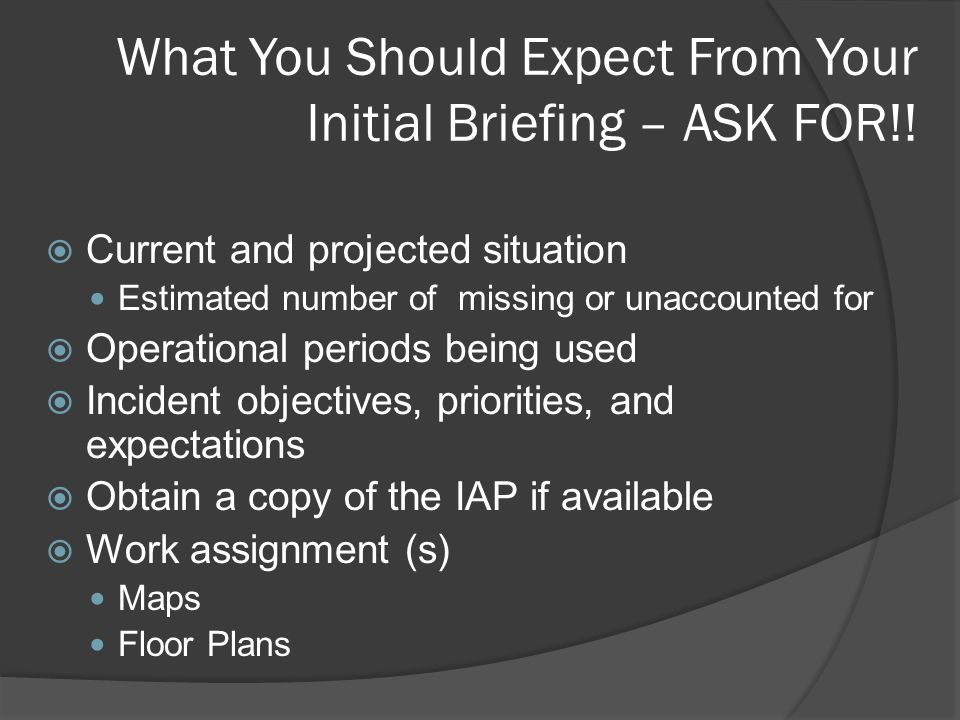 What You Should Expect From Your Initial Briefing – ASK FOR!.