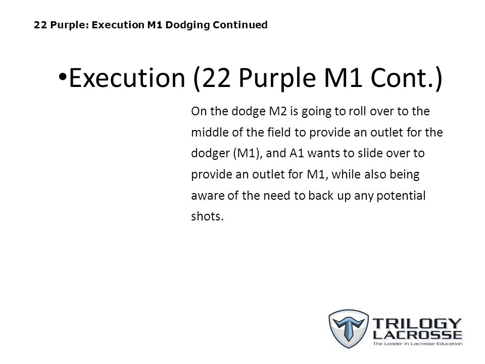 22 Purple: Execution M1 Dodging Continued On the dodge M2 is going to roll over to the middle of the field to provide an outlet for the dodger (M1), and A1 wants to slide over to provide an outlet for M1, while also being aware of the need to back up any potential shots.