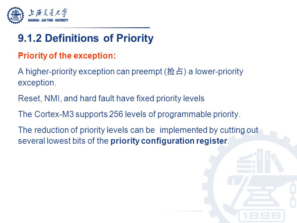 3 bits of priority level 4 bits of priority level The minimum number of implemented priority register widths is 3 bits.