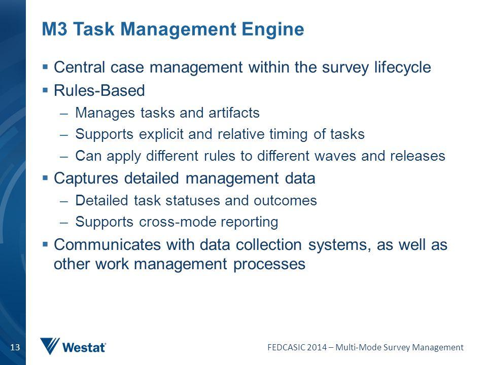 FEDCASIC 2014 – Multi-Mode Survey Management 13 M3 Task Management Engine  Central case management within the survey lifecycle  Rules-Based –Manages