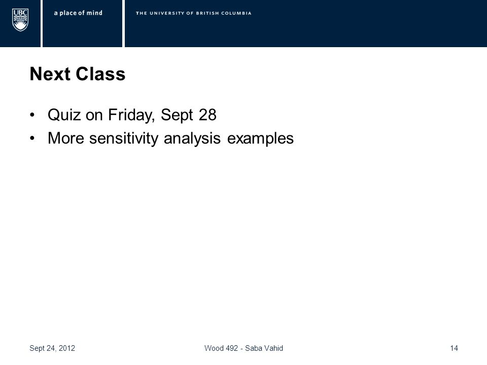 Next Class Quiz on Friday, Sept 28 More sensitivity analysis examples 14Wood 492 - Saba VahidSept 24, 2012