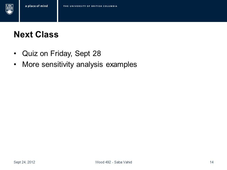 Next Class Quiz on Friday, Sept 28 More sensitivity analysis examples 14Wood 492 - Saba VahidSept 24, 2012