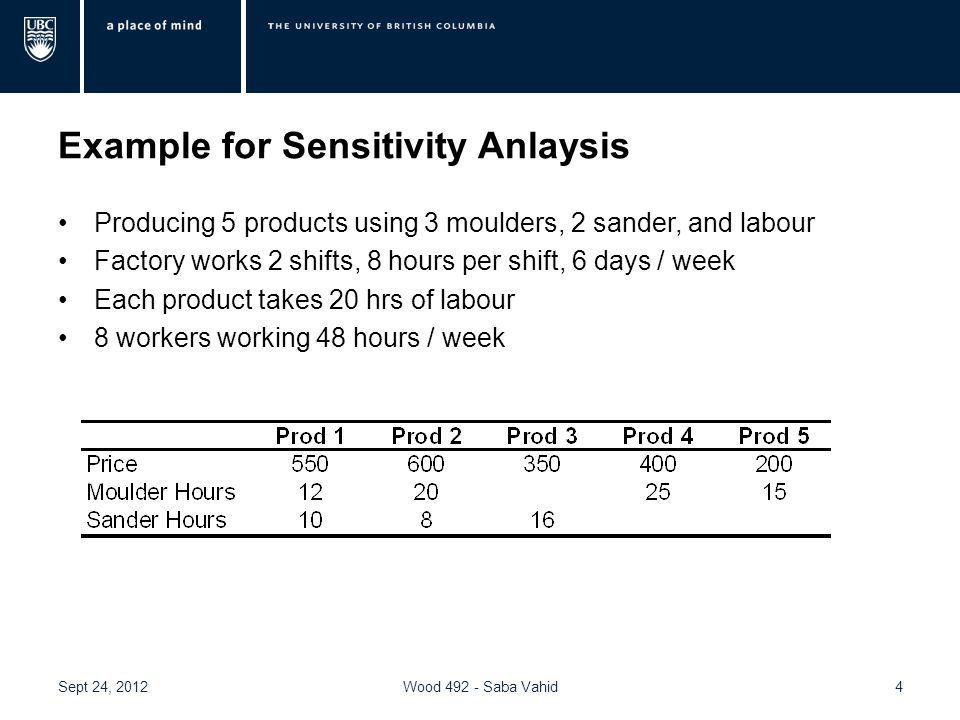 Example for Sensitivity Anlaysis Producing 5 products using 3 moulders, 2 sander, and labour Factory works 2 shifts, 8 hours per shift, 6 days / week