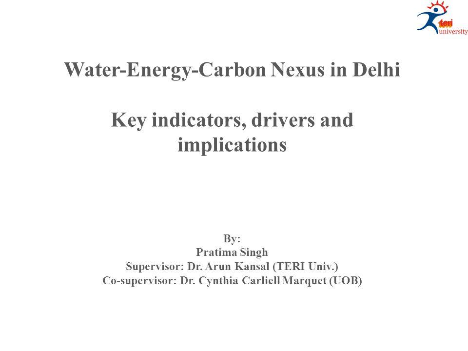 Water-Energy-Carbon Nexus in Delhi Key indicators, drivers and implications By: Pratima Singh Supervisor: Dr. Arun Kansal (TERI Univ.) Co-supervisor: