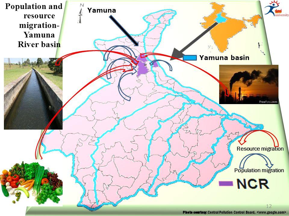Photo courtesy: Central Pollution Control Board, Yamuna basin Yamuna Population migration Resource migration Population and resource migration- Yamuna River basin 12