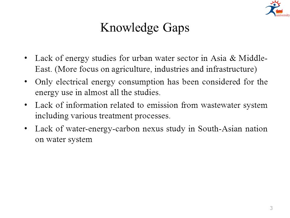 Knowledge Gaps Lack of energy studies for urban water sector in Asia & Middle- East. (More focus on agriculture, industries and infrastructure) Only e
