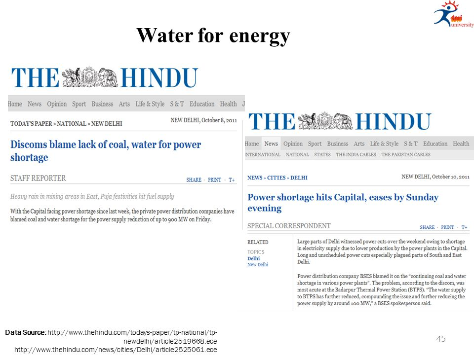 Water for energy Data Source: http://www.thehindu.com/todays-paper/tp-national/tp- newdelhi/article2519668.ece http://www.thehindu.com/news/cities/Del