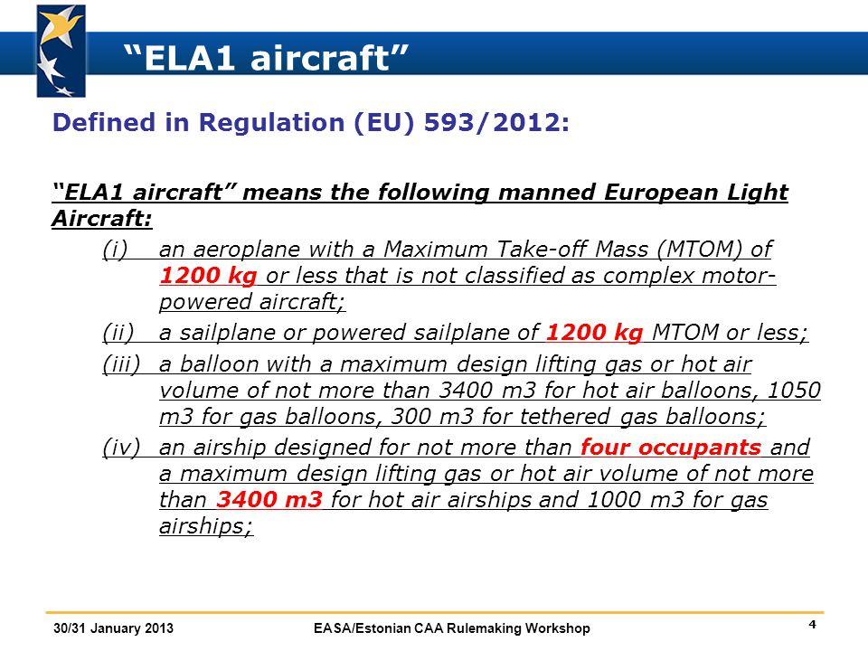 "4 30/31 January 2013EASA/Estonian CAA Rulemaking Workshop ""ELA1 aircraft"" Defined in Regulation (EU) 593/2012: ""ELA1 aircraft"" means the following man"