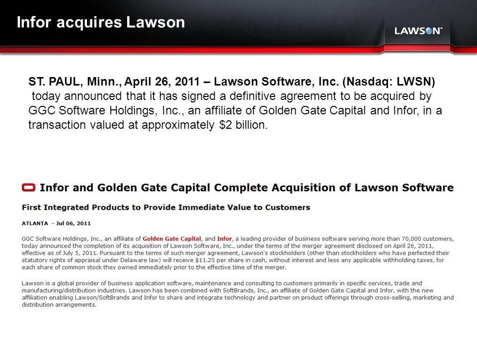 Lawson Template V.2 July 29, 2011 ST. PAUL, Minn., April 26, 2011 – Lawson Software, Inc.