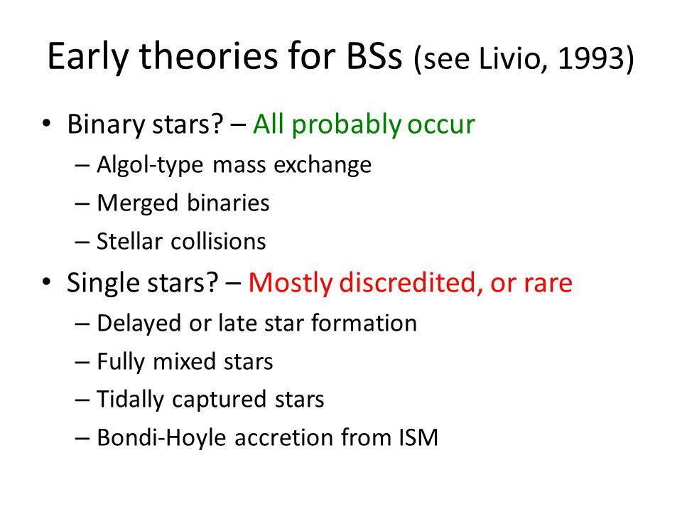Early theories for BSs (see Livio, 1993) Binary stars.
