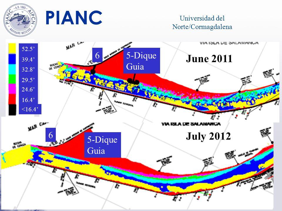 PIANC JULIO 2012 52.5' 39.4' 32.8' 29.5' 24.6' 16.4' <16.4' Universidad del Norte/Cormagdalena June 2011 July 2012 5-Dique Guia 6 6 5-Dique Guia