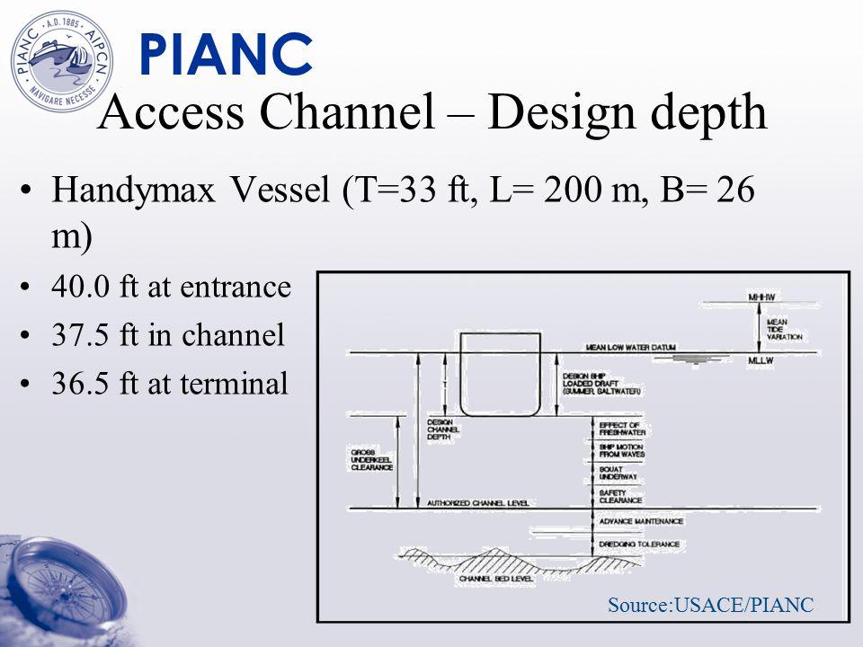 PIANC Access Channel – Design depth Handymax Vessel (T=33 ft, L= 200 m, B= 26 m) 40.0 ft at entrance 37.5 ft in channel 36.5 ft at terminal Source:USACE/PIANC