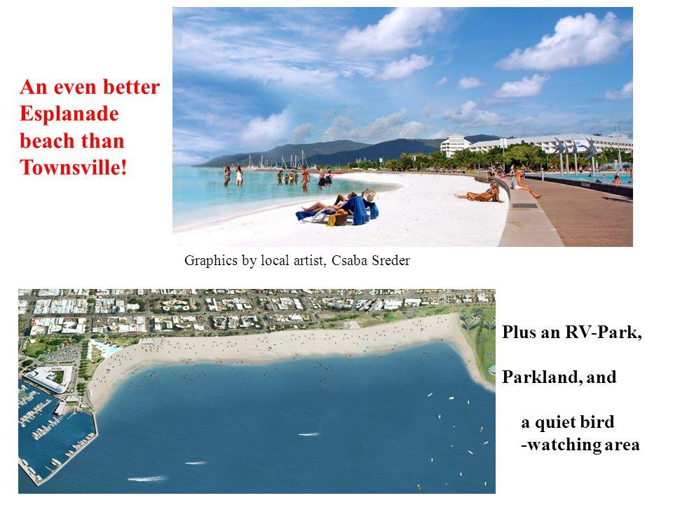 Graphics by local artist, Csaba Sreder An even better Esplanade beach than Townsville! Plus an RV-Park, Parkland, and a quiet bird -watching area