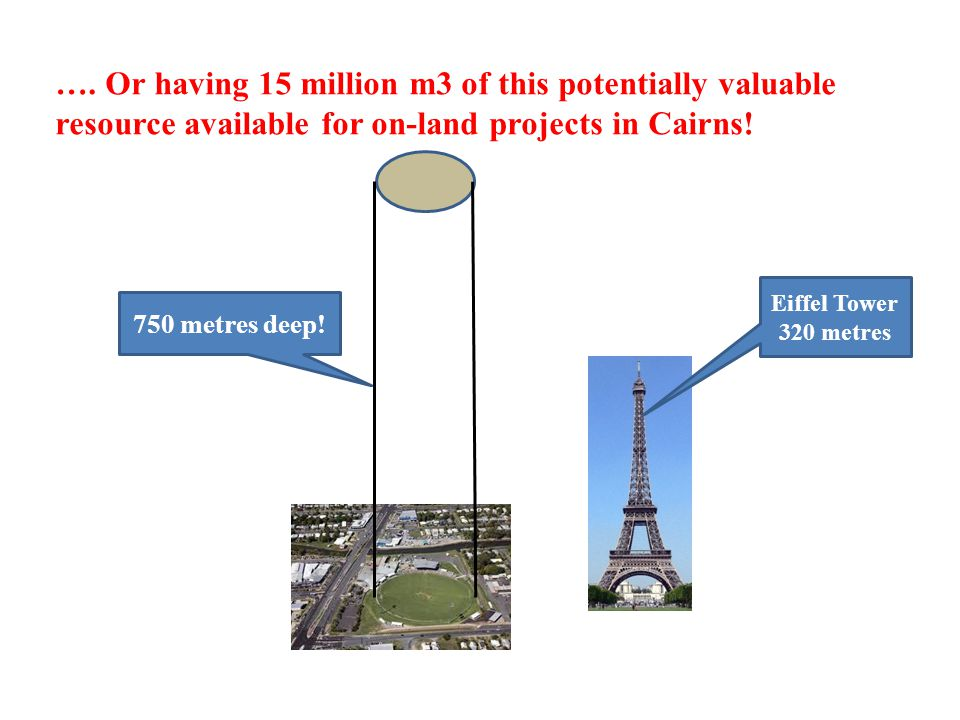 …. Or having 15 million m3 of this potentially valuable resource available for on-land projects in Cairns! 750 metres deep! Eiffel Tower 320 metres