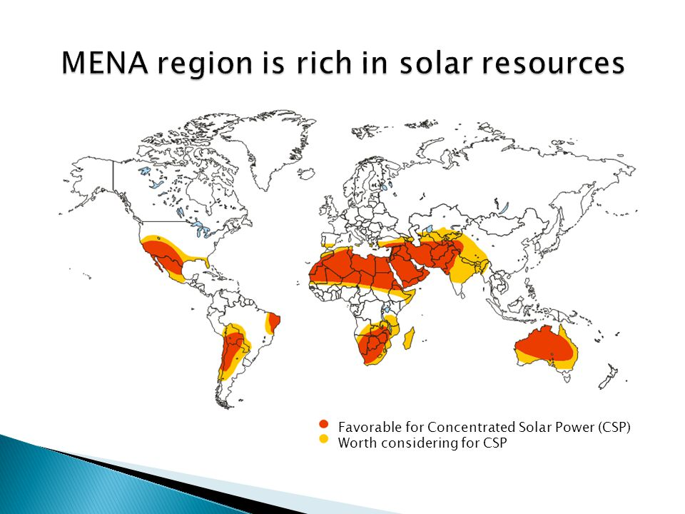 8 High potential for application of the technology exists in MENA itself Compared to other renewable energy technologies such as photovoltaic or wind energy, the CSP potential is limited in many of the major developed countries A CSP industry in MENA could serve not only the regional market but also existing markets in Southern Europe, the USA and elsewhere Examples of emerging wind industries in India and China demonstrate the positive effects that manufacturing of innovative renewable energy technologies can have on the respective economies  MENA could become home to a new, high potential industry in a region with large solar energy resources and benefit from the associated job- and wealth creation