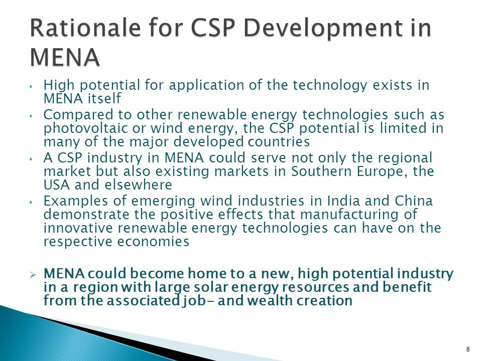 9 Current CSP projects classified by applied technology [in MW capacity] CSP projects by country (operating, under construction and in planning phase) Sun & Wind Energy 6/2010