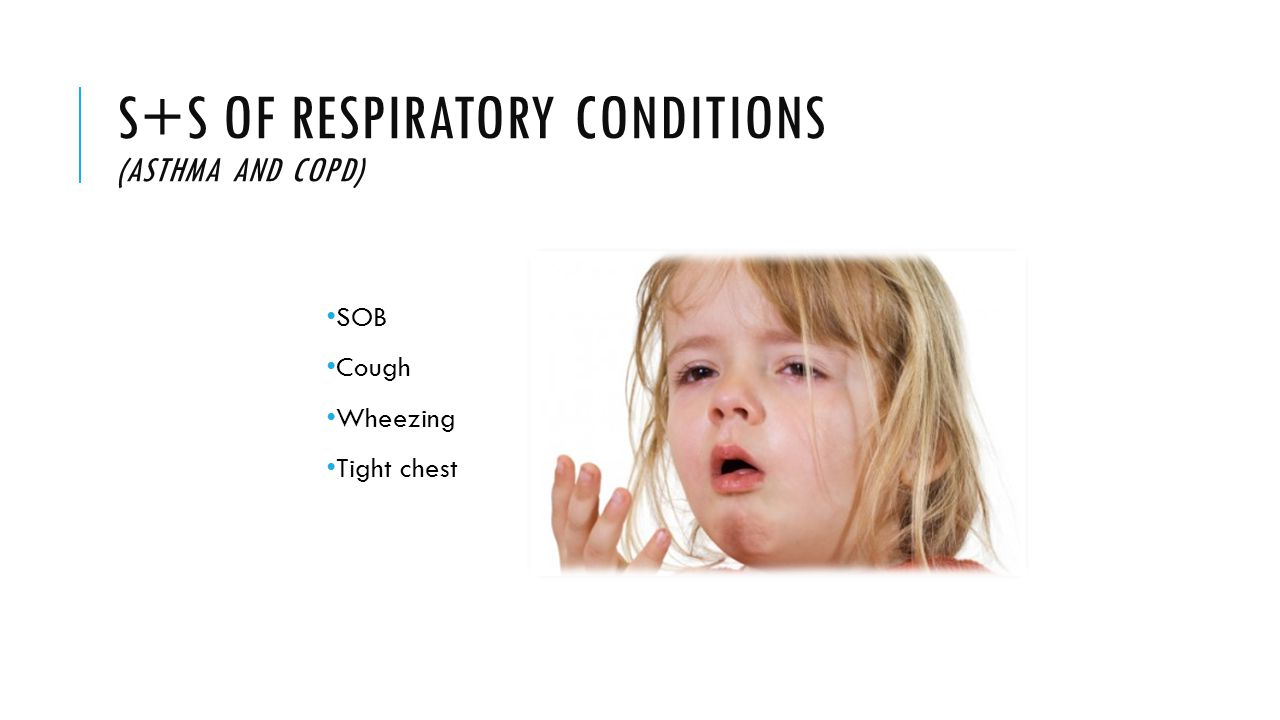 S+S OF RESPIRATORY CONDITIONS (ASTHMA AND COPD) SOB Cough Wheezing Tight chest