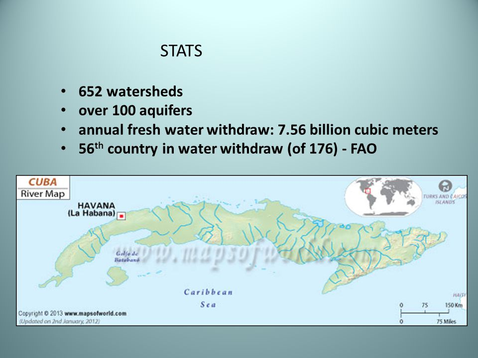 652 watersheds over 100 aquifers annual fresh water withdraw: 7.56 billion cubic meters 56 th country in water withdraw (of 176) - FAO STATS
