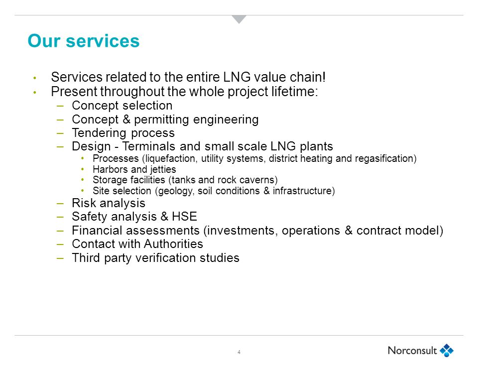 Our services 4 Services related to the entire LNG value chain.
