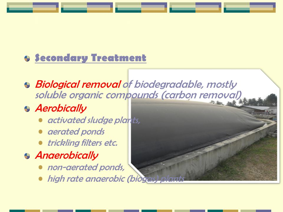 2.1 Overview of Treatment Processes Secondary Treatment Biological removal of biodegradable, mostly soluble organic compounds (carbon removal) Aerobic