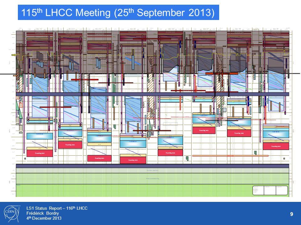 9 LS1 Status Report – 116 th LHCC Frédérick Bordry 4 th December 2013 115 th LHCC Meeting (25 th September 2013)