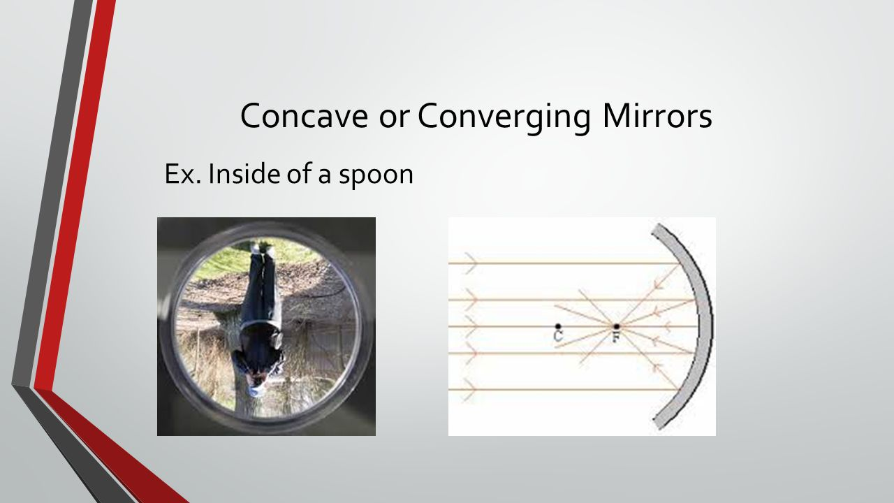 Concave or Converging Mirrors Ex. Inside of a spoon