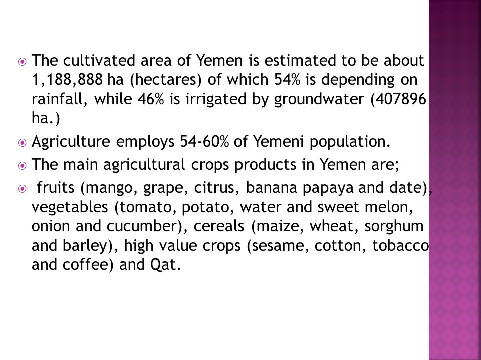  The cultivated area of Yemen is estimated to be about 1,188,888 ha (hectares) of which 54% is depending on rainfall, while 46% is irrigated by groun