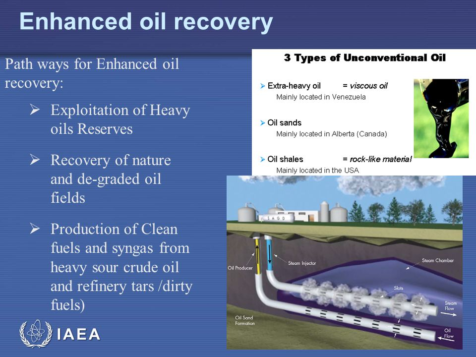 IAEA Enhanced oil recovery Path ways for Enhanced oil recovery:  Exploitation of Heavy oils Reserves  Recovery of nature and de-graded oil fields  Production of Clean fuels and syngas from heavy sour crude oil and refinery tars /dirty fuels)