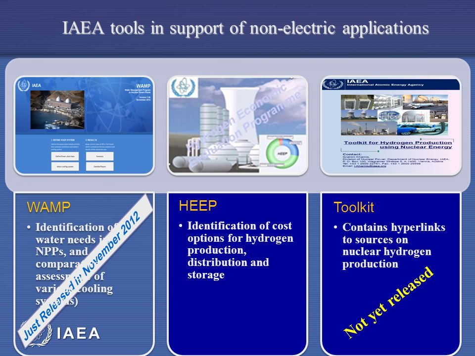 IAEA WAMP Identification of water needs in NPPs, and comparative assessment of various cooling systems) HEEP Identification of cost options for hydrogen production, distribution and storage Toolkit Contains hyperlinks to sources on nuclear hydrogen production IAEA tools in support of non-electric applications Not yet released