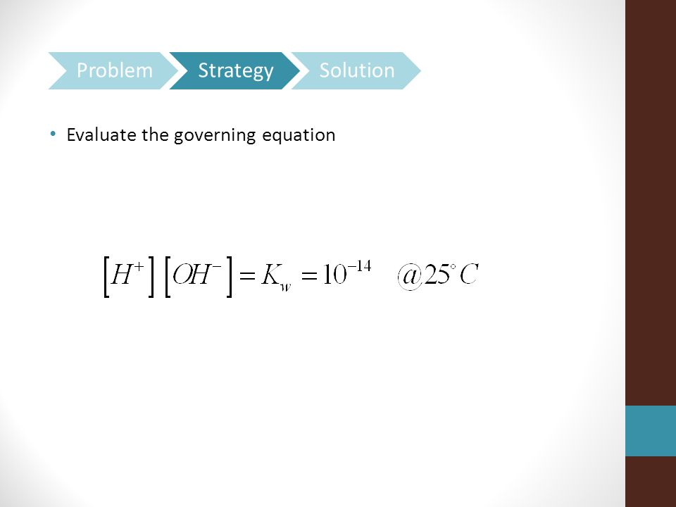 Evaluate the governing equation