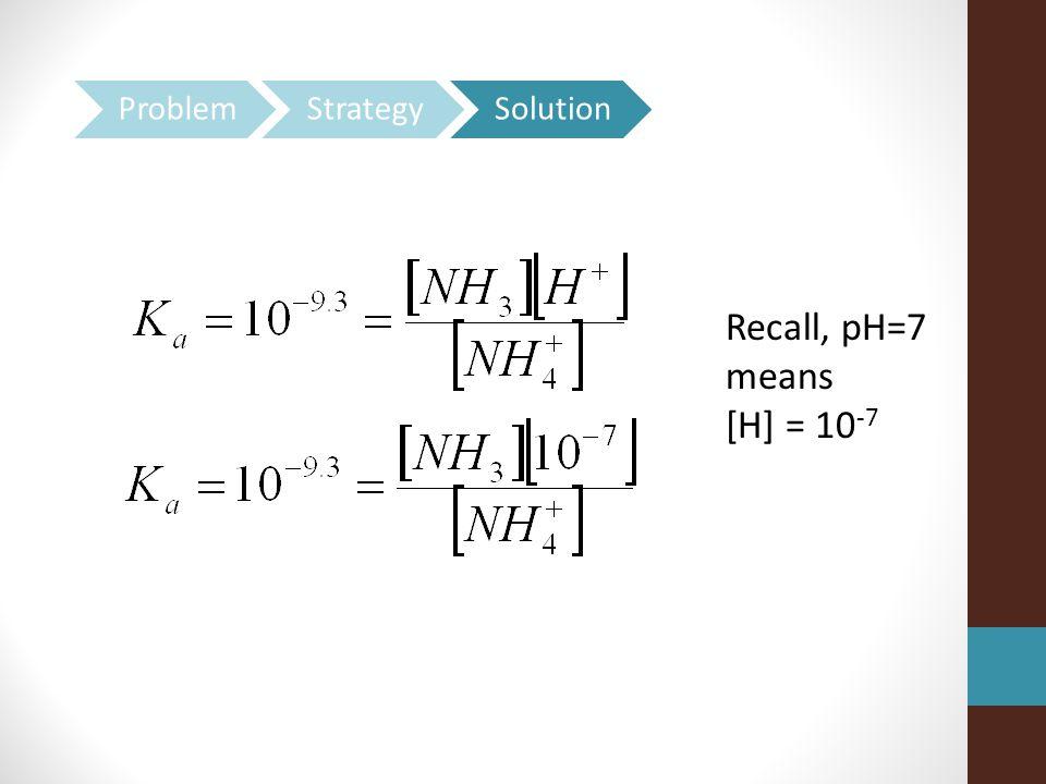 Recall, pH=7 means [H] = 10 -7