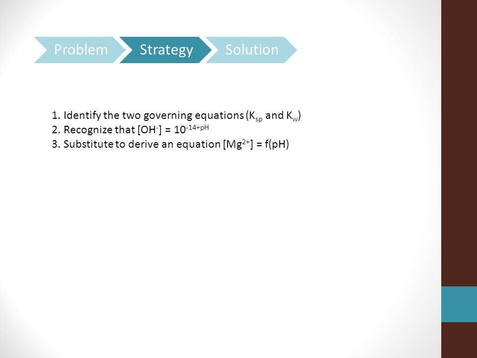 1.Identify the two governing equations (K sp and K w ) 2.