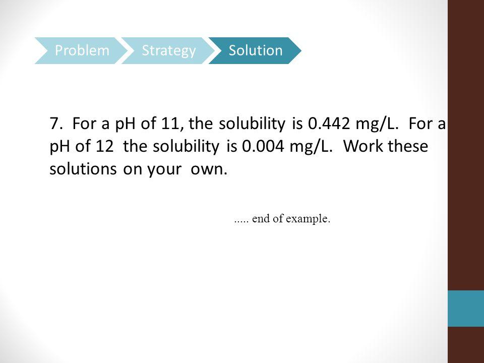 7.For a pH of 11, the solubility is 0.442 mg/L. For a pH of 12 the solubility is 0.004 mg/L.