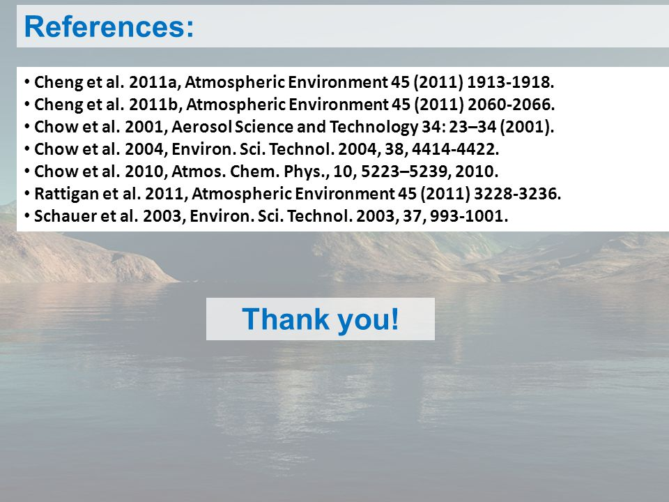 References: Cheng et al. 2011a, Atmospheric Environment 45 (2011) 1913-1918.