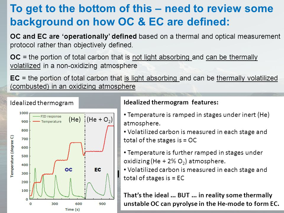 To get to the bottom of this – need to review some background on how OC & EC are defined: OC and EC are 'operationally' defined based on a thermal and optical measurement protocol rather than objectively defined.
