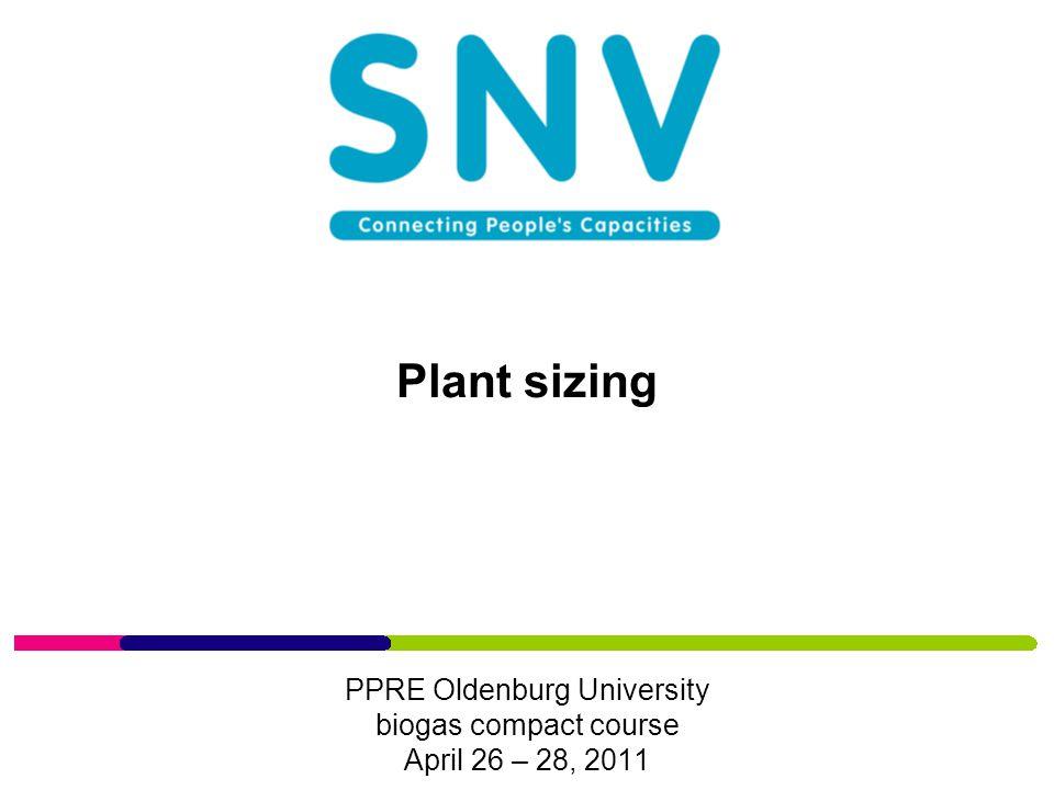 Plant sizing PPRE Oldenburg University biogas compact course April 26 – 28, 2011
