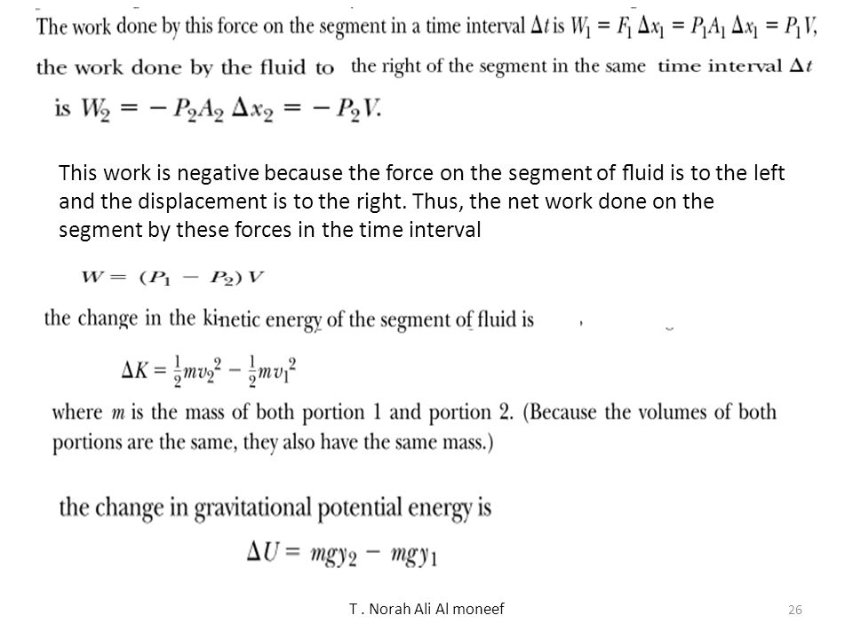 T. Norah Ali Al moneef Relates pressure to fluid speed and elevation Bernoulli's equation is a consequence of Work Energy Relation applied to an ideal