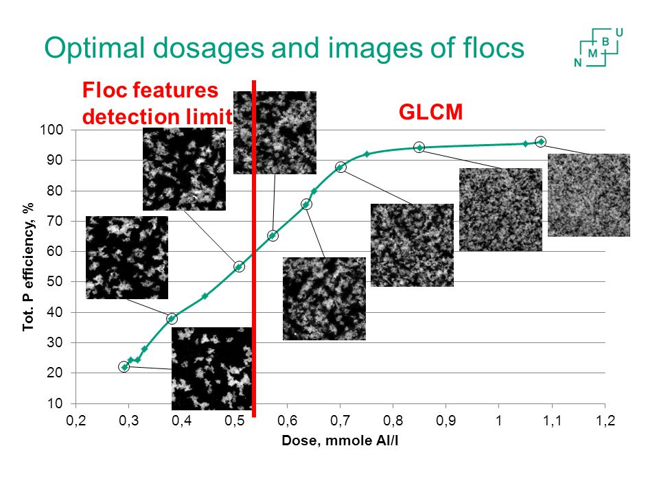 Optimal dosages and images of flocs Floc features detection limit GLCM