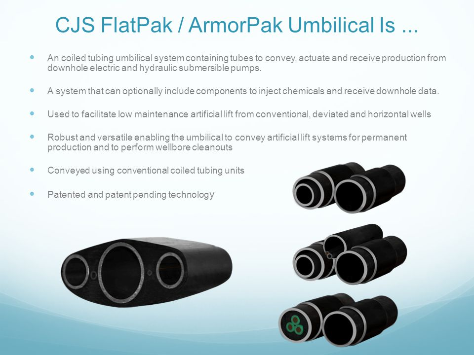 CJS FlatPak / ArmorPak Umbilical Is... An coiled tubing umbilical system containing tubes to convey, actuate and receive production from downhole elec