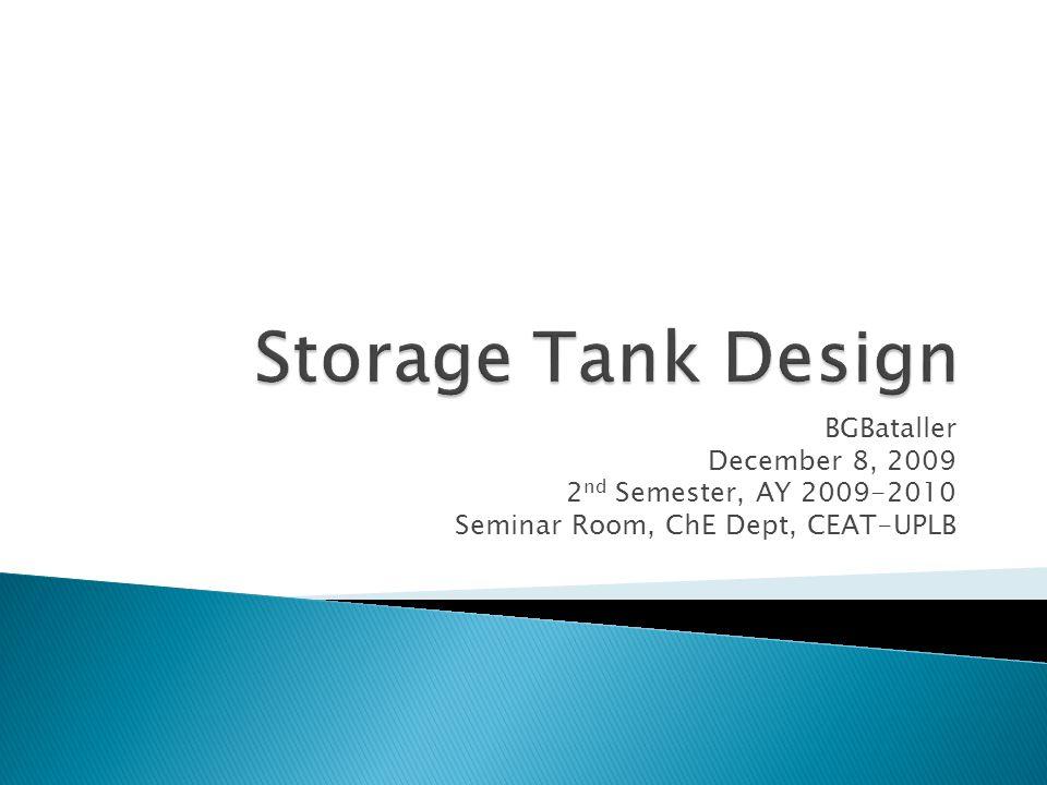 BGBataller December 8, 2009 2 nd Semester, AY 2009-2010 Seminar Room, ChE Dept, CEAT-UPLB