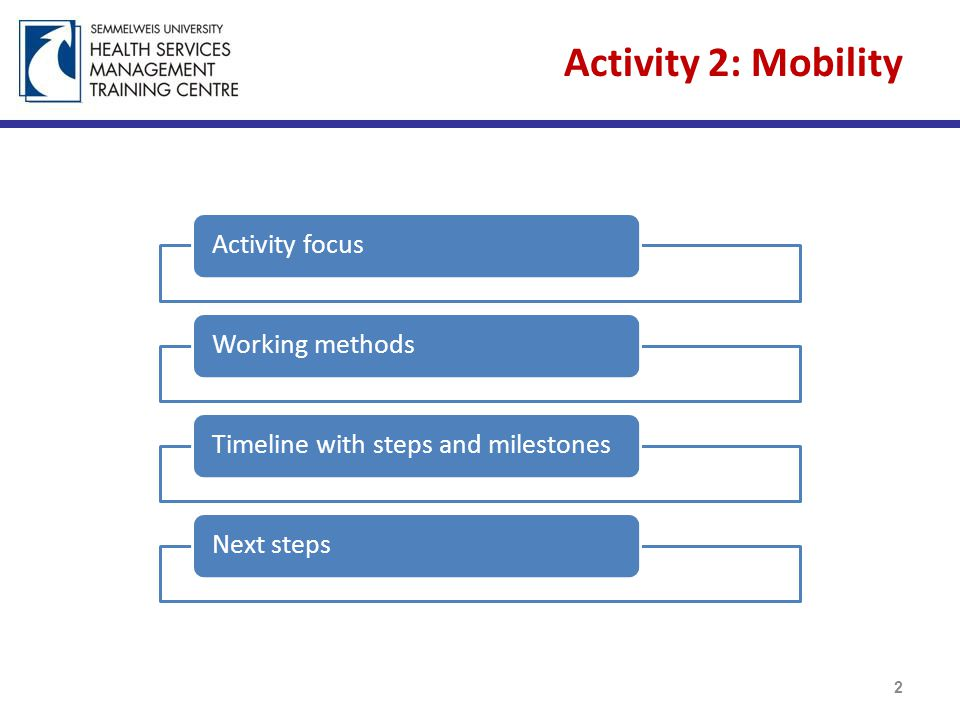 Mobility Activity focus 3 components of the Mobility 3 Mapping of HWF Mobility Data within the EU Policy Recommendations Discussion of the applicability of the WHO Code