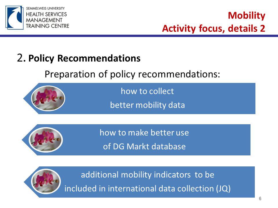 Mobility Activity focus, details 2 2.