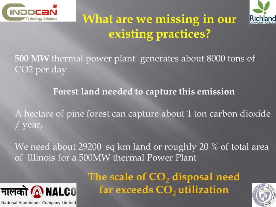 500 MW thermal power plant generates about 8000 tons of CO2 per day Forest land needed to capture this emission A hectare of pine forest can capture a