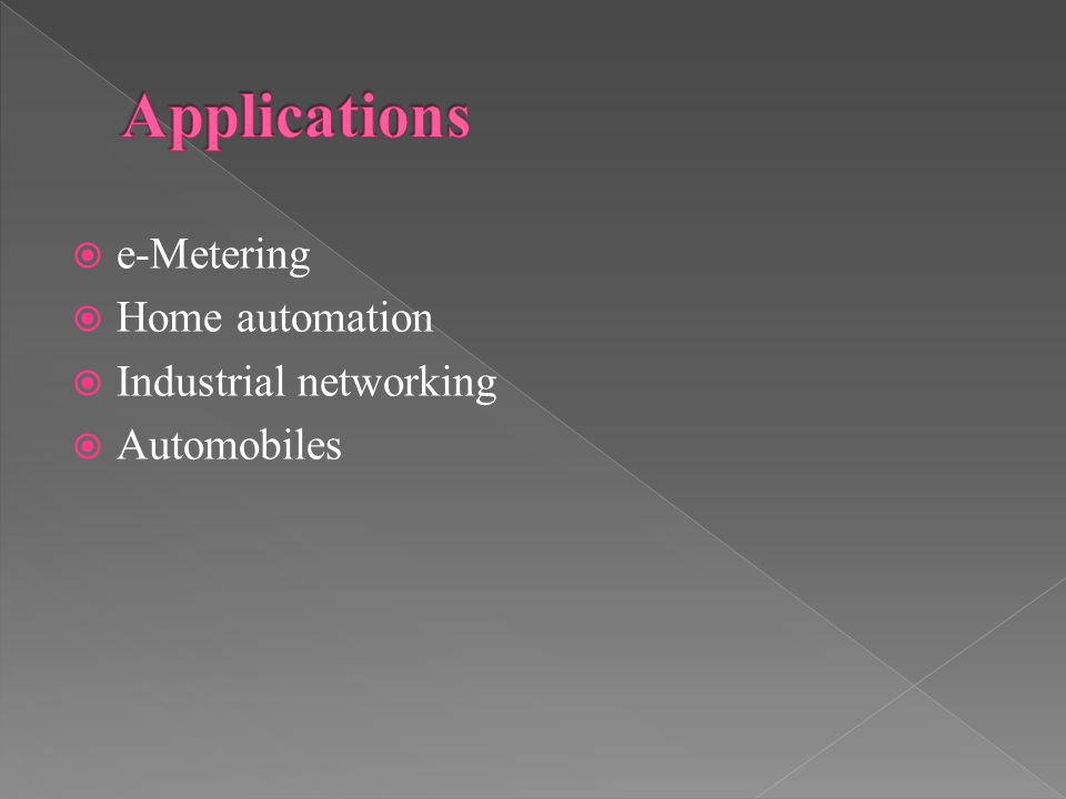  e-Metering  Home automation  Industrial networking  Automobiles