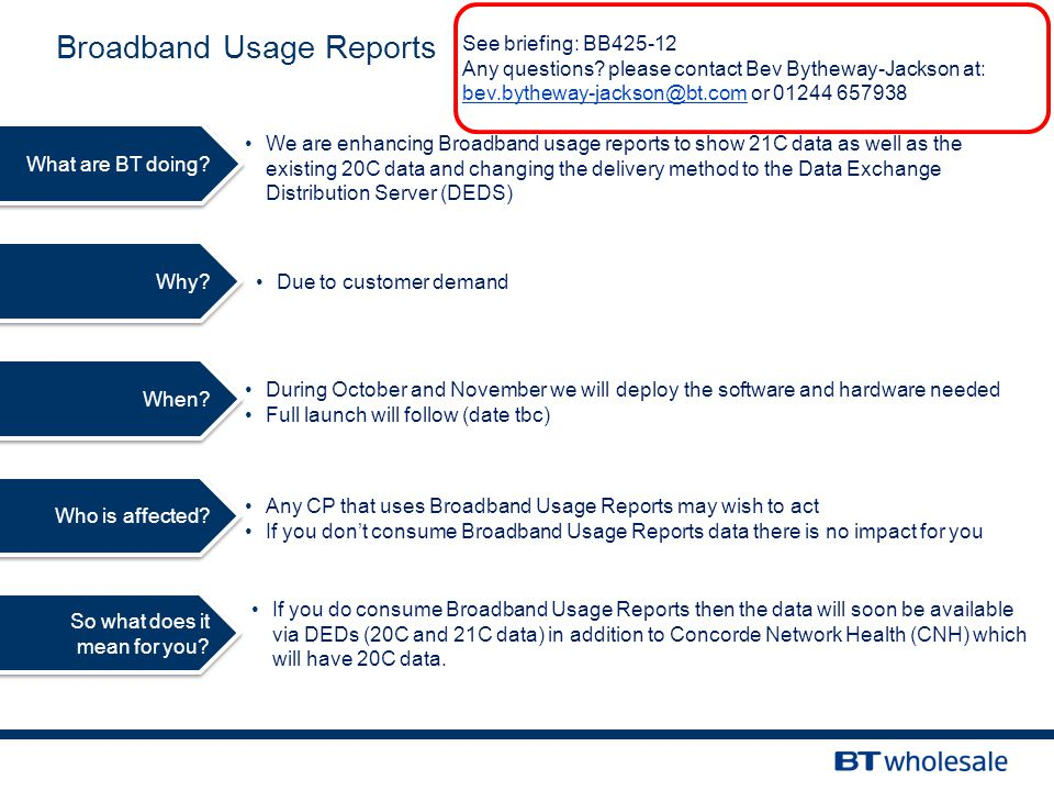 Broadband Usage Reports Why.Due to customer demand What are BT doing.