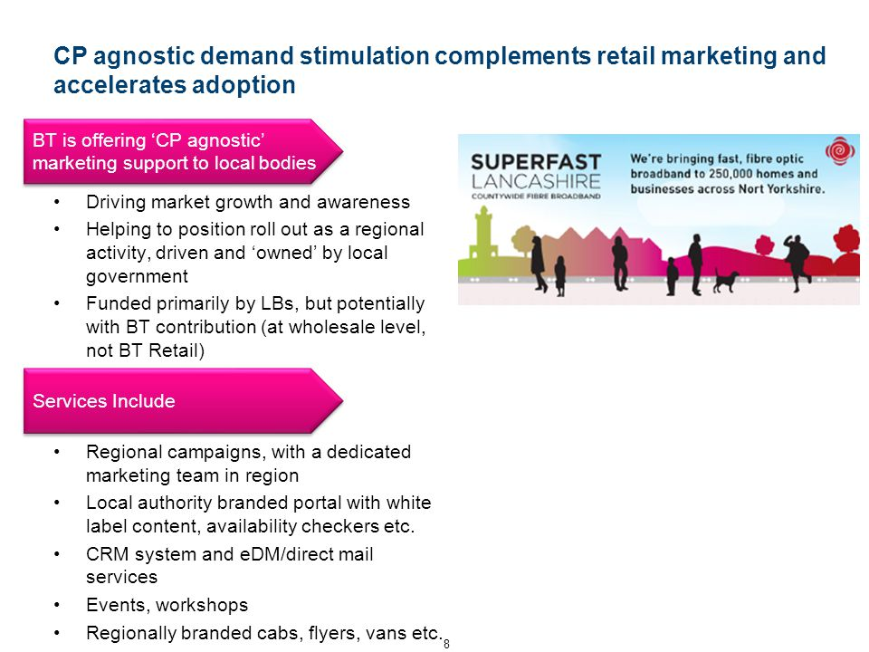 CP agnostic demand stimulation complements retail marketing and accelerates adoption Driving market growth and awareness Helping to position roll out as a regional activity, driven and 'owned' by local government Funded primarily by LBs, but potentially with BT contribution (at wholesale level, not BT Retail) Regional campaigns, with a dedicated marketing team in region Local authority branded portal with white label content, availability checkers etc.