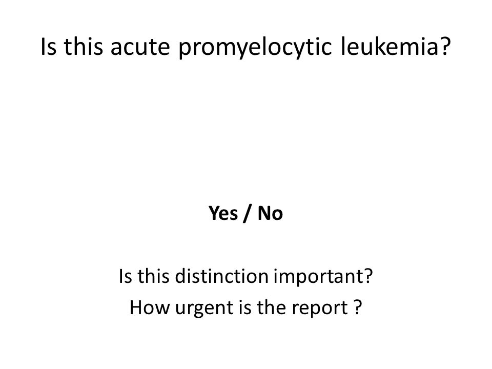 Is this acute promyelocytic leukemia? Yes / No Is this distinction important? How urgent is the report ?