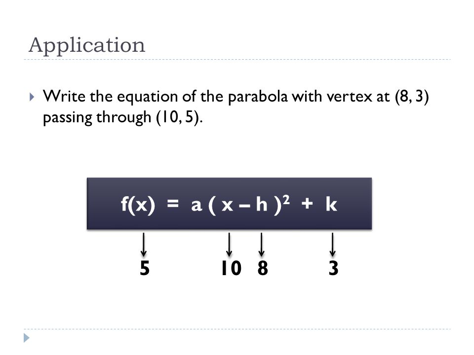 Application  Write the equation of the parabola with vertex at (8, 3) passing through (10, 5).