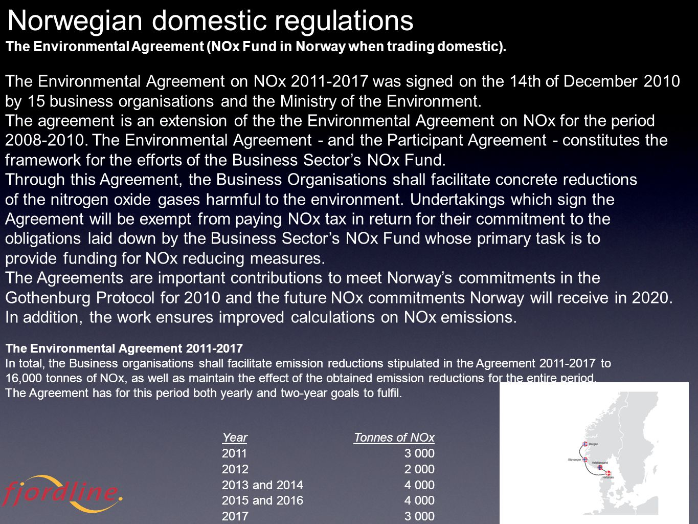 YearTonnes of NOx 20113 000 20122 000 2013 and 20144 000 2015 and 20164 000 20173 000 The Environmental Agreement (NOx Fund in Norway when trading domestic).